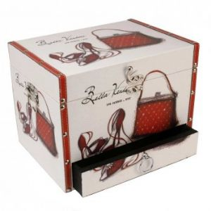 Bella Vendome shoe and bag wooden storage box with drawer 2643S